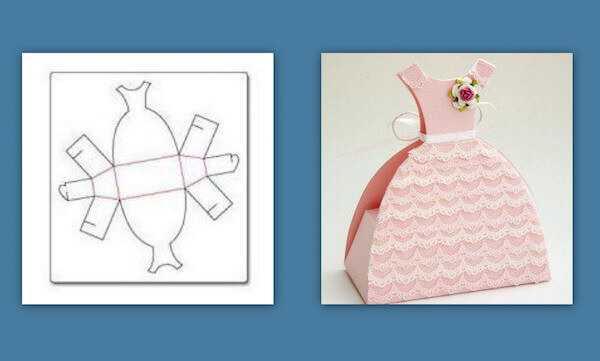Открытка платье к 8 марта из картона