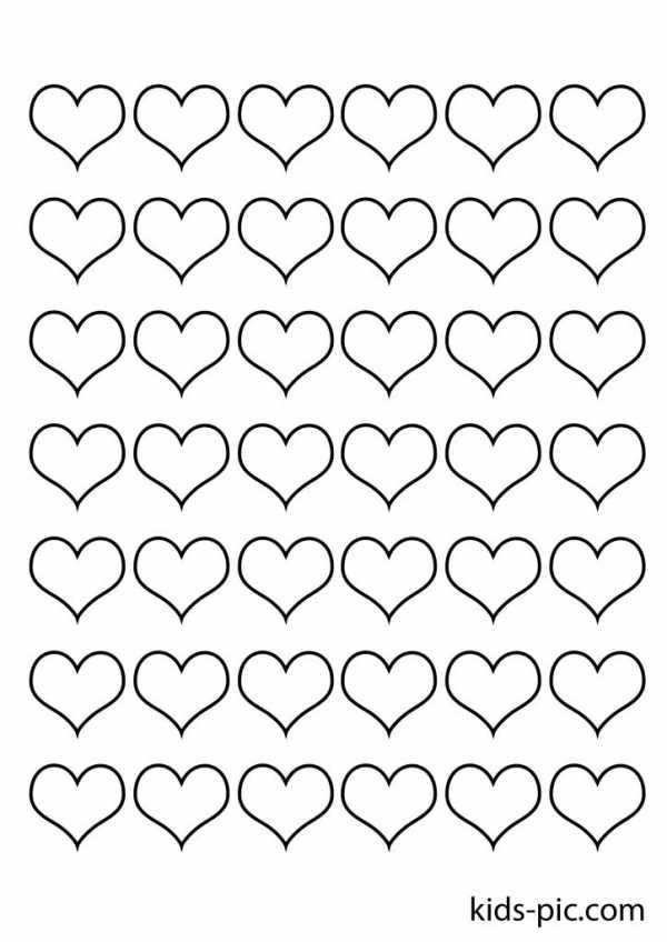 Для гостевую, раскраска сердечки много на одном листе